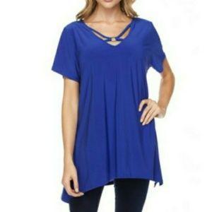 Blue v neck shirt. Blossom by P